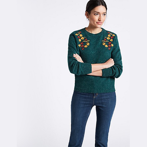 Embroidered Round Neck Long Sleeve Jumper