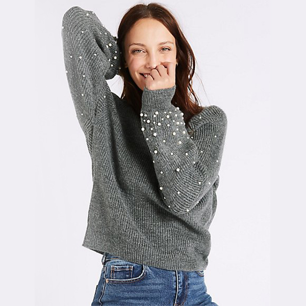 Textured Round Neck Pearl Sleeve Jumper dari Marks and Spencer
