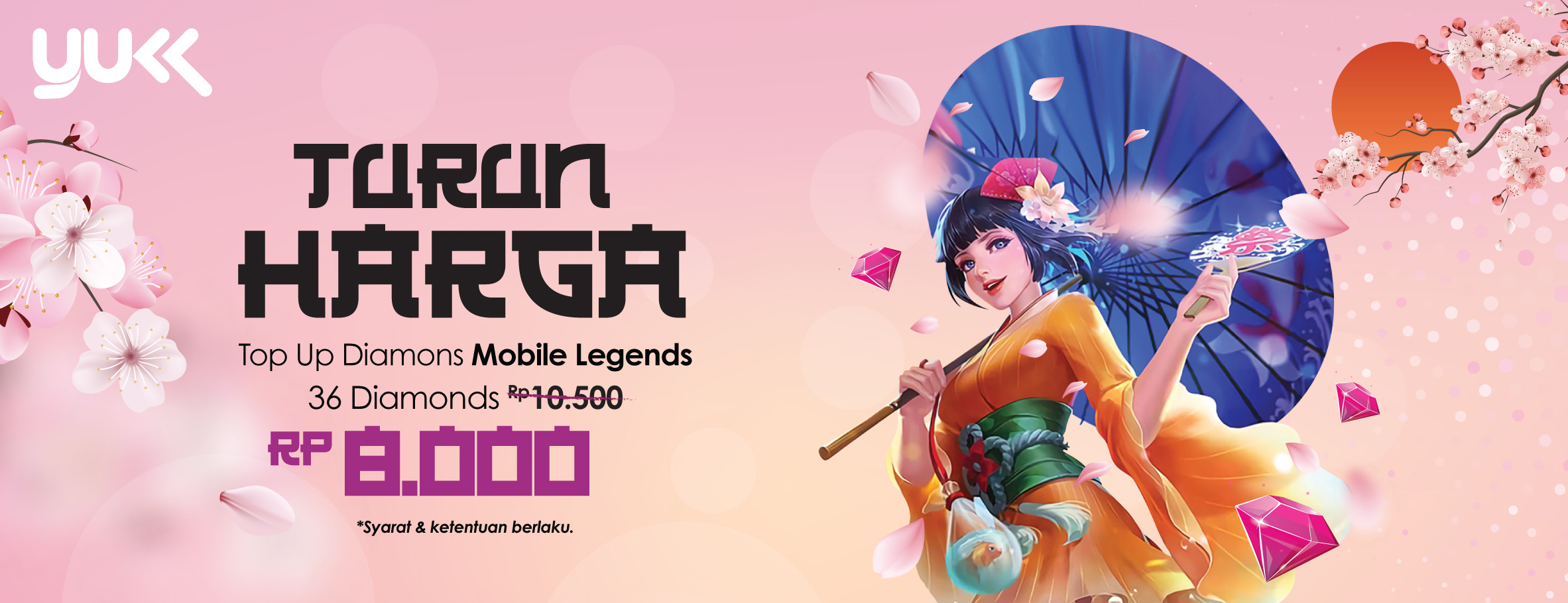 Top Up Diamond Mobile Legends lebih murah pakai YUKK